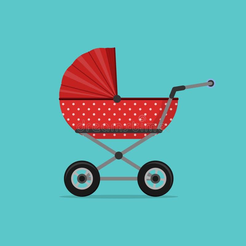 Kinderwagenrot lokalisiert auf blauem Hintergrund Kinder Pram, Kinderwagen vektor abbildung