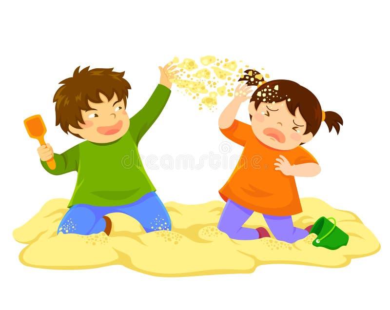 Kinderwerfender Sand stock abbildung