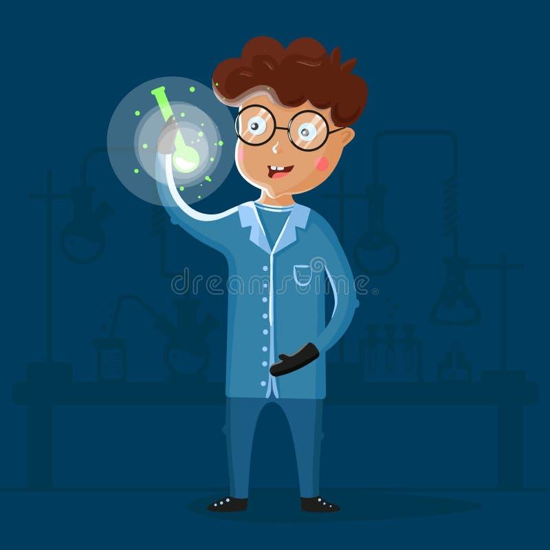 Kinderwissenschaftler im Labor Chemie studierend Intelligentes Kind unter Reagenzgläsern und chemischen Flaschen unterhalten lizenzfreie abbildung