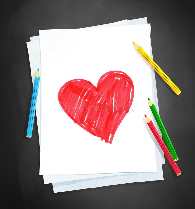 Kinderzeichnung der Herzform stock abbildung