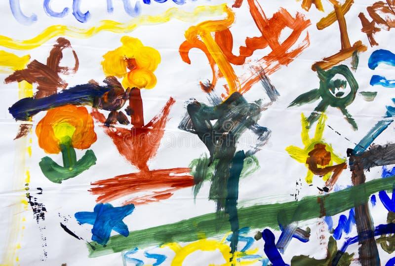 Kinderzeichnungen auf Papier stockbilder