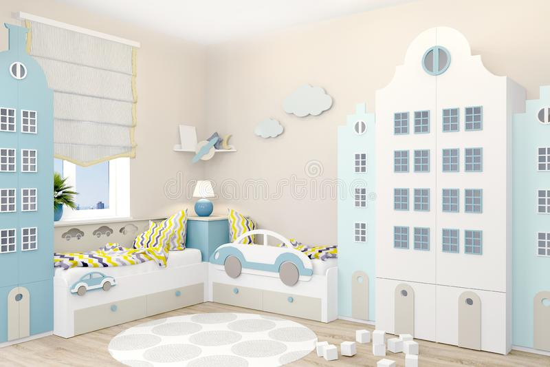 Kinderzimmer für zwei Jungen in der skandinavischen Art Garderobe in Form von Amsterdam-Häusern vektor abbildung