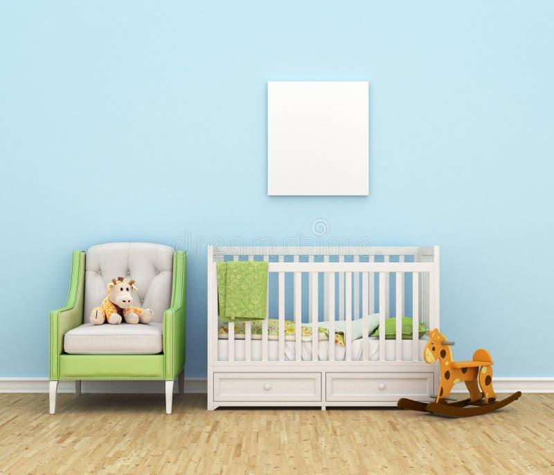 kinderzimmer mit einem bett sofa spielwaren leer stock abbildung bild 74902753. Black Bedroom Furniture Sets. Home Design Ideas