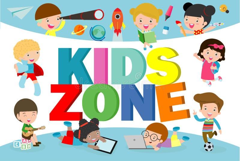 Kinderzonen-Fahnen-Design Kinderspielplatzbereichsplakat Kinderzonen-Konzept des Entwurfes mit Gruppe des Legens der kleinen Jung lizenzfreie abbildung