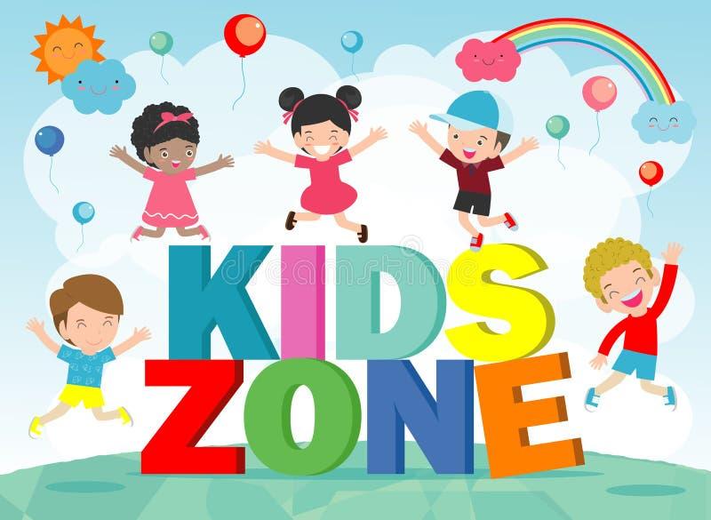 Kinderzonen-Fahnen-Design Kinderspielplatzbereichsplakat Kinderzonen-Konzept des Entwurfes mit Gruppe des Legens der kleinen Jung stock abbildung
