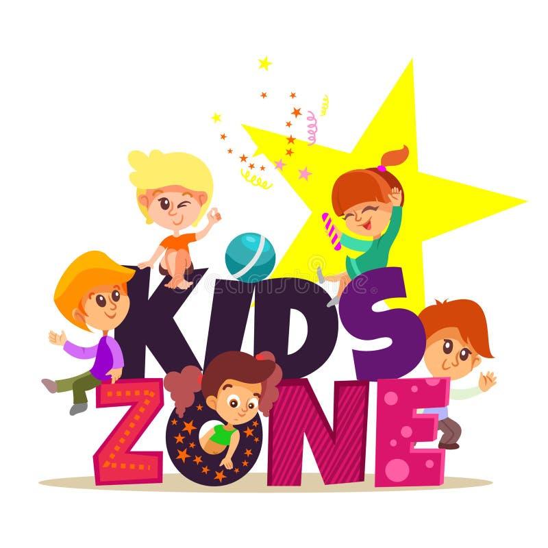 Kinderzonenfahne mit Gruppe des Spielens der kleinen Jungen und der Mädchen stock abbildung