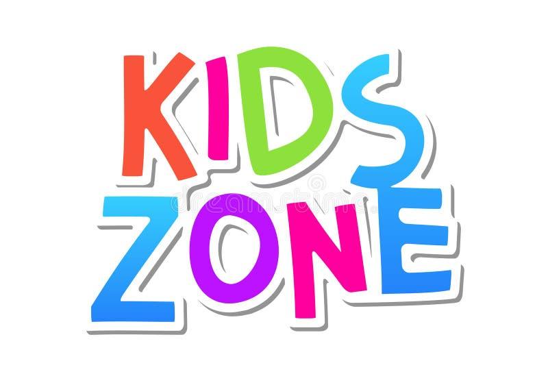 Kinderzonenvektorspaß-Fahnenhintergrund Kinderspiel-Plakatentwurf Babyspielplatzspielraumkarikatur-Logoillustration lizenzfreie abbildung