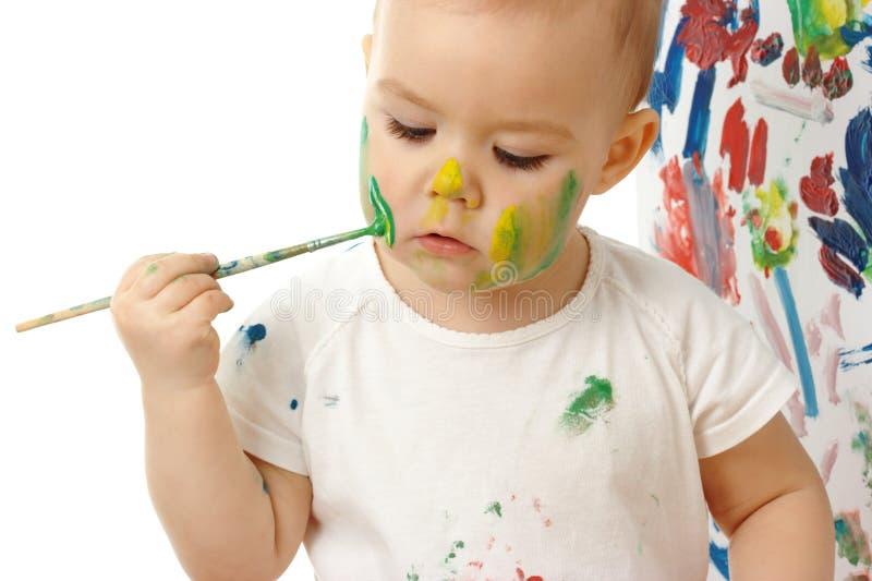 kindflicka henne little målarfärg arkivbild