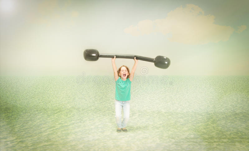 Kindgewichten die sport opheffen royalty-vrije stock foto's