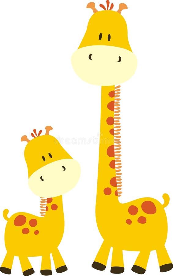 Kindische Giraffe und Mamma lizenzfreie abbildung