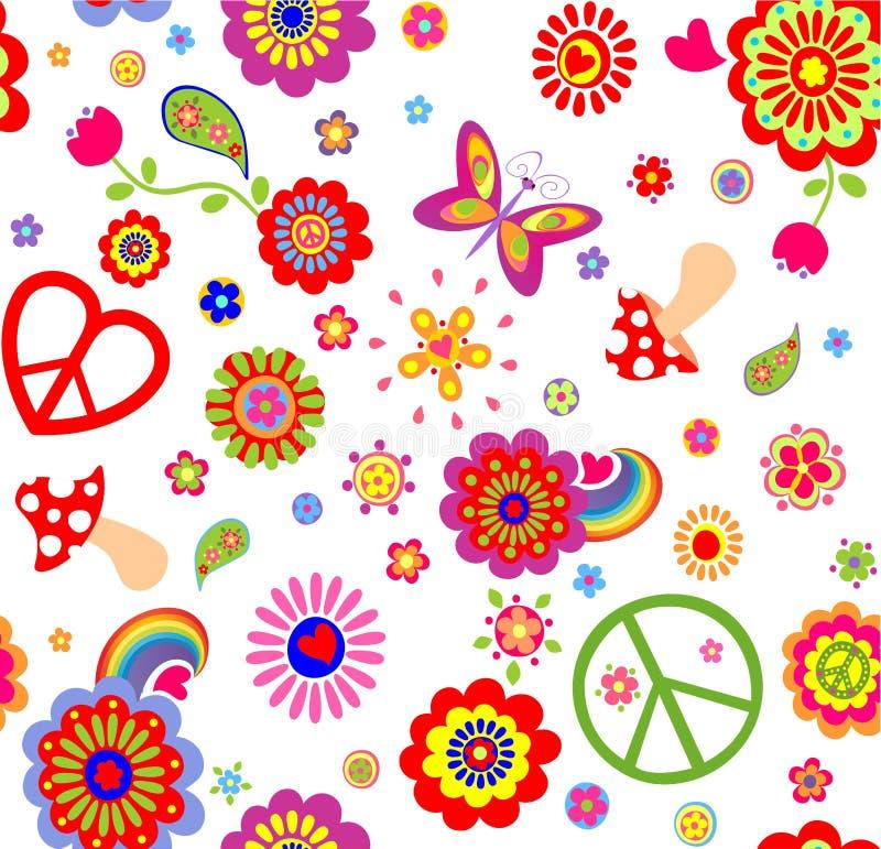 Kindische lustige Tapete der Hippie mit abstrakten Blumen, Pilzen, Regenbogen und Friedenssymbol vektor abbildung