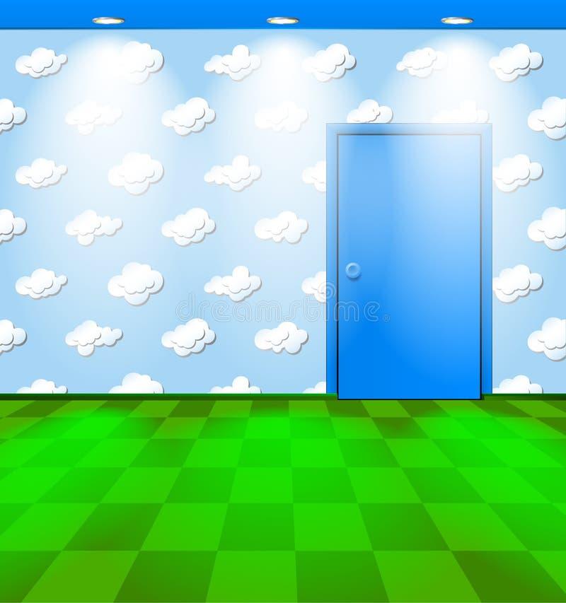 Kindischer Raum mit blauer Tür vektor abbildung