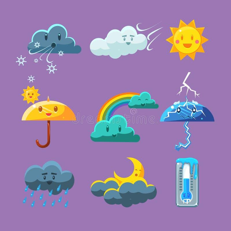 Kindischer Wetter-Ikonen-Satz lizenzfreie abbildung