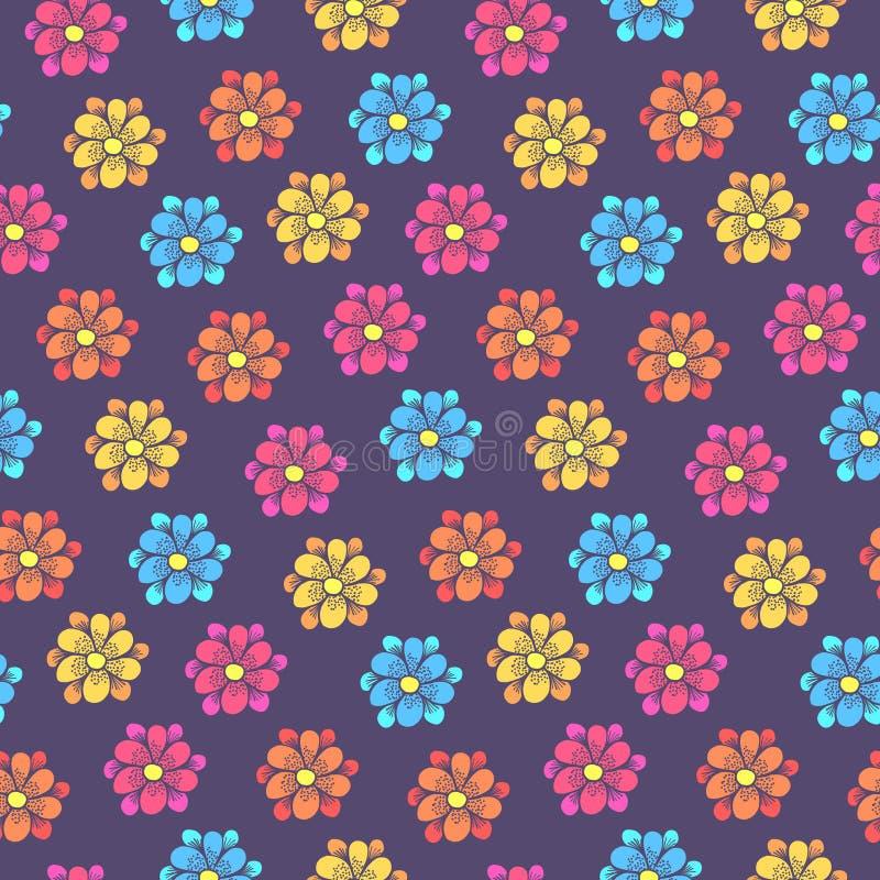 Kindisches Muster mit bunten Gänseblümchenblumen vektor abbildung