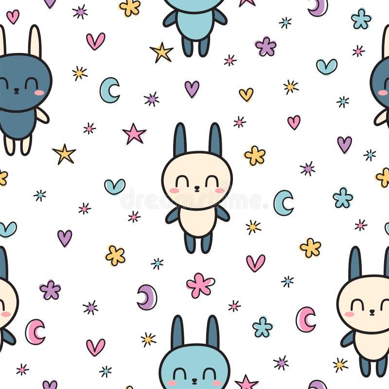 Kindisches nahtloses Muster mit netten kleinen Häschen Moderne stilvolle Beschaffenheit mit Karikaturtieren für Kinder Kindertage stock abbildung