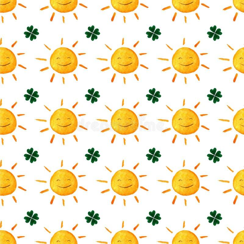 Kindisches nahtloses Muster mit Sonnen und Klee Netter lächelnder Sonnenklee Viel Glueck Grün Blätter StPatrick-` s Tag Abstrakte lizenzfreie abbildung
