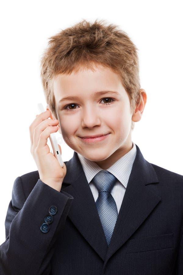 Kindjongen die mobiele telefoon spreken royalty-vrije stock foto
