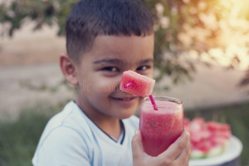 Kindjongen het drinken watermeloen smoothie van glas met stro royalty-vrije stock afbeeldingen
