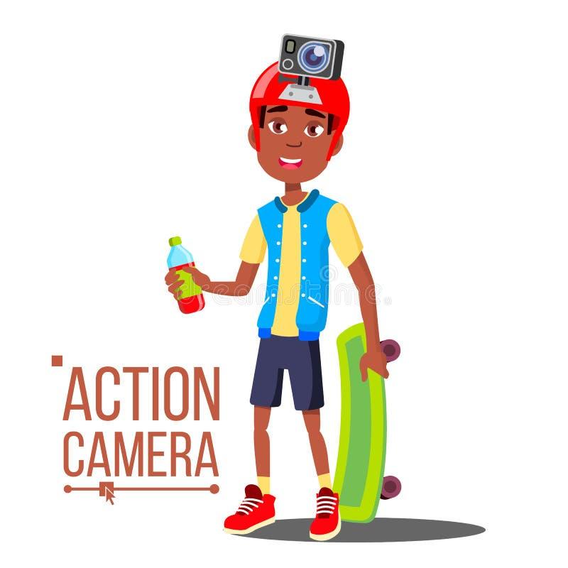 Kindjongen met de Vector van de Actiecamera Afro Amerikaanse tiener Rode helm Het schieten van proces Actief Geïsoleerd Type van  royalty-vrije illustratie