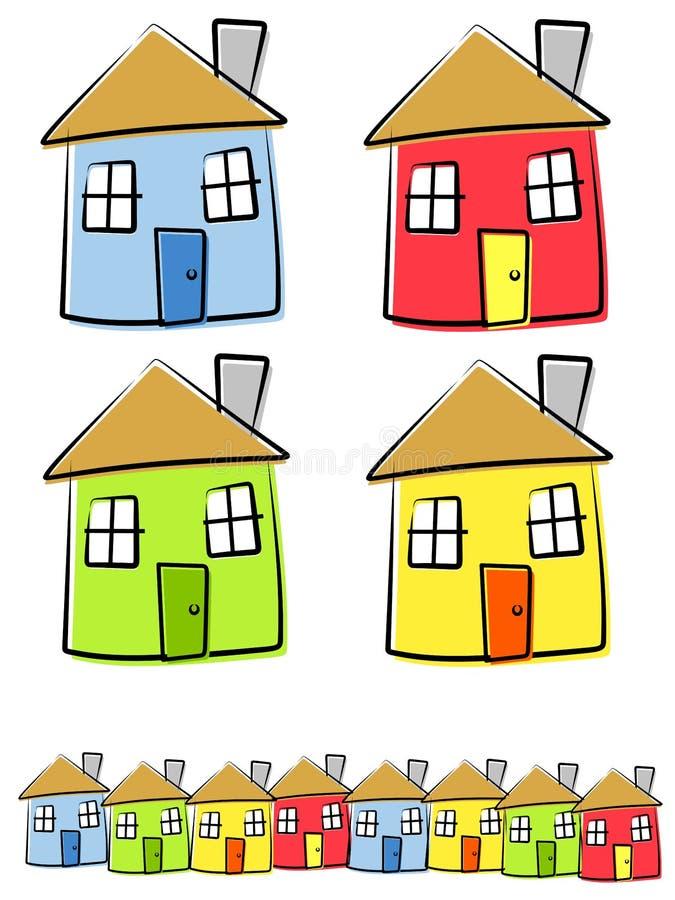 Kindliche Zeichnungen der Häuser