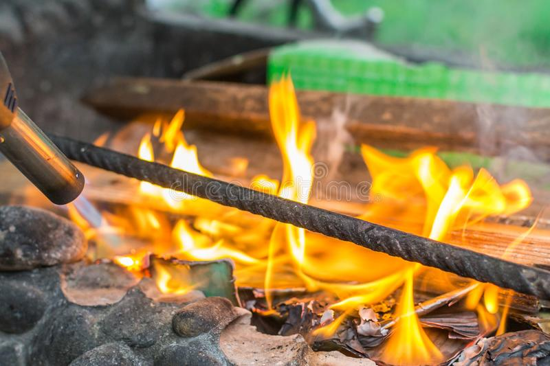 Kindling the fire stock photos