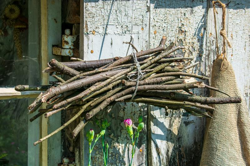 Kindling wood hanging up to dry royalty free stock image