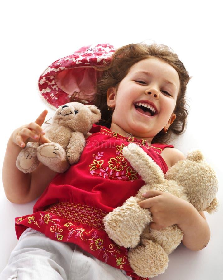 Kindmädchen mit Teddybären stockfotografie