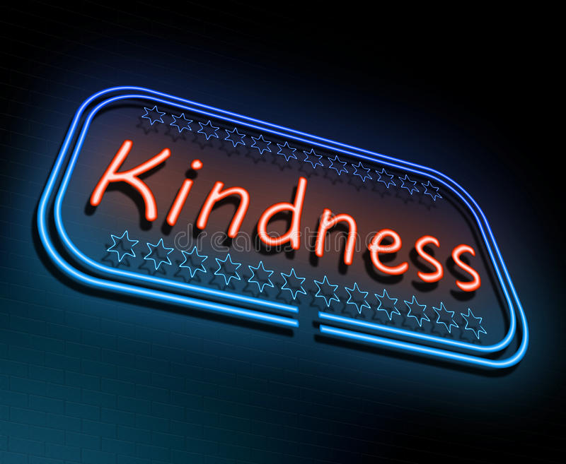 Kindness neon concept. Illustration depicting an illuminated neon sign with a kindness concept vector illustration
