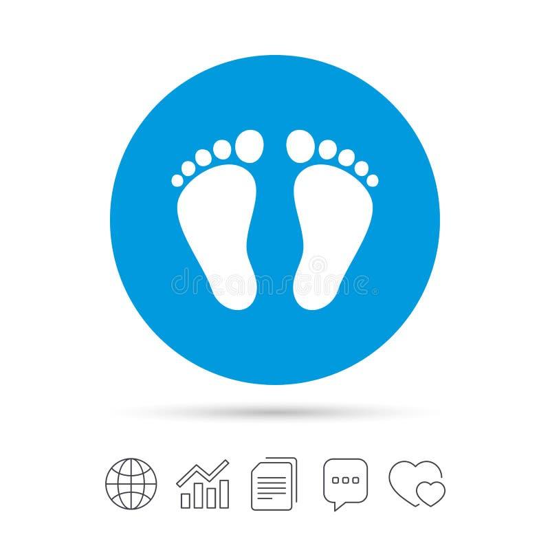 Kindpaar van het pictogram van het voetafdrukteken blootvoets vector illustratie