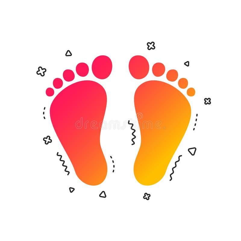 Kindpaar van het pictogram van het voetafdrukteken blootvoets Vector stock illustratie