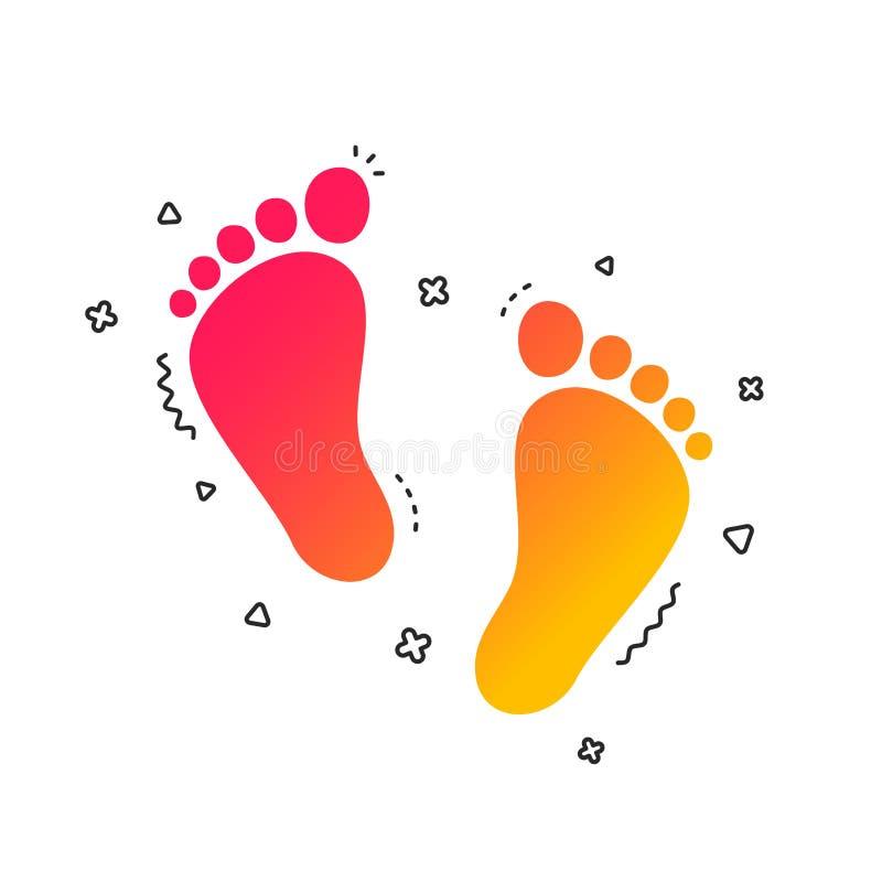 Kindpaar van het pictogram van het voetafdrukteken blootvoets Vector royalty-vrije illustratie