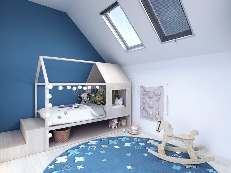 Kindruimte, jonge geitjesslaapkamer met blauw tapijt en speelgoed vector illustratie