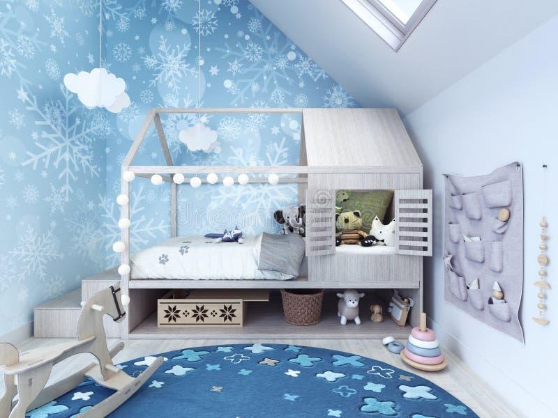 Kindruimte, jonge geitjesslaapkamer met blauw tapijt en speelgoed royalty-vrije stock foto's