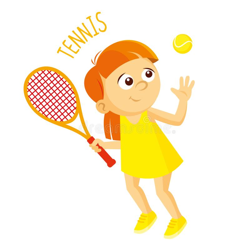 Kinds of sports. Athlete. Tennis stock illustration