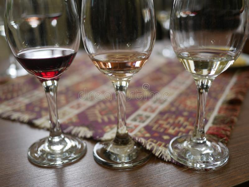 3 kinds of wine testing stock photos
