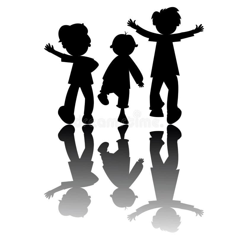 Kindschattenbilder getrennt auf weißem Hintergrund lizenzfreie abbildung