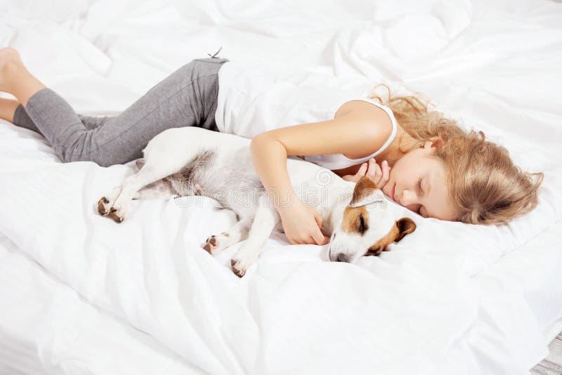 Kindslaap met hond royalty-vrije stock fotografie