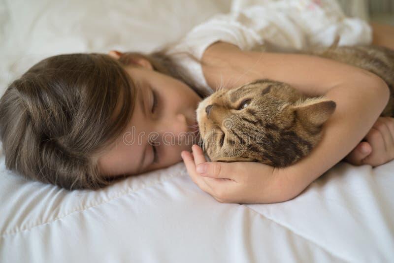 Kindslaap met kat royalty-vrije stock afbeelding