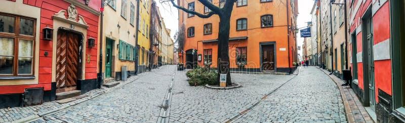 Kindstugatan obciosuje, Stadsholmen wyspa, Gamla Stan okręg, Sztokholm, Szwecja zdjęcie royalty free