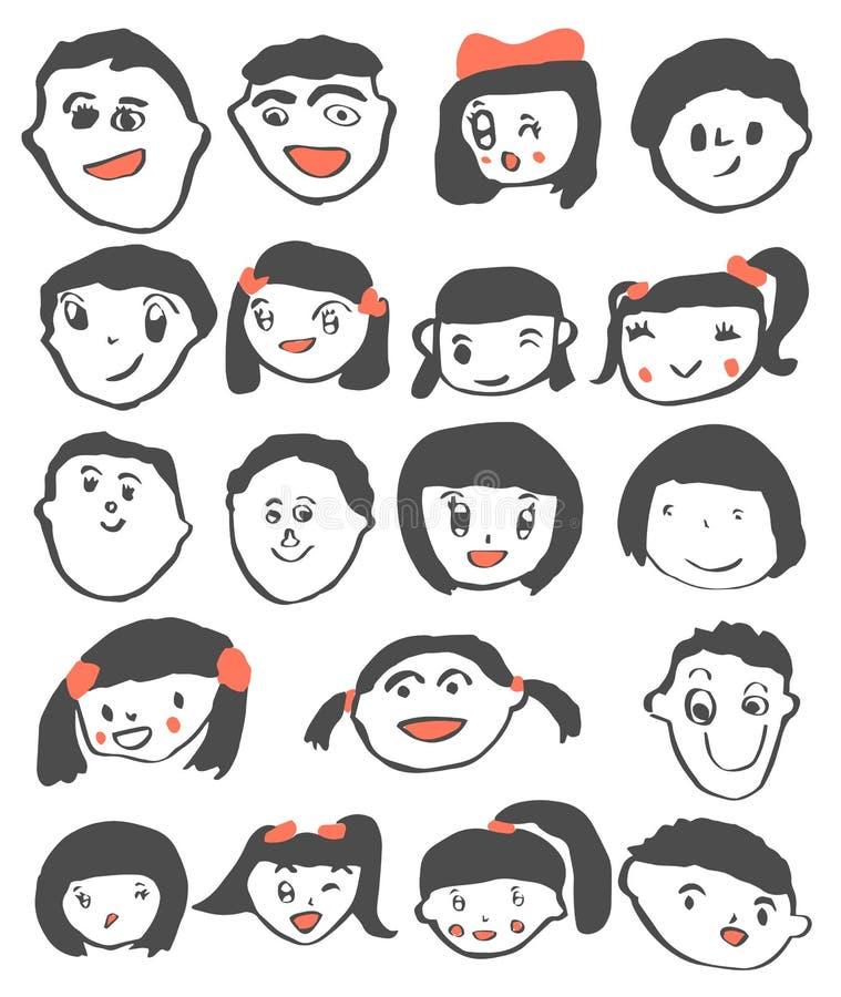 Kindtekening, de gelukkige leuke vastgestelde vector van het kinderenportret stock illustratie