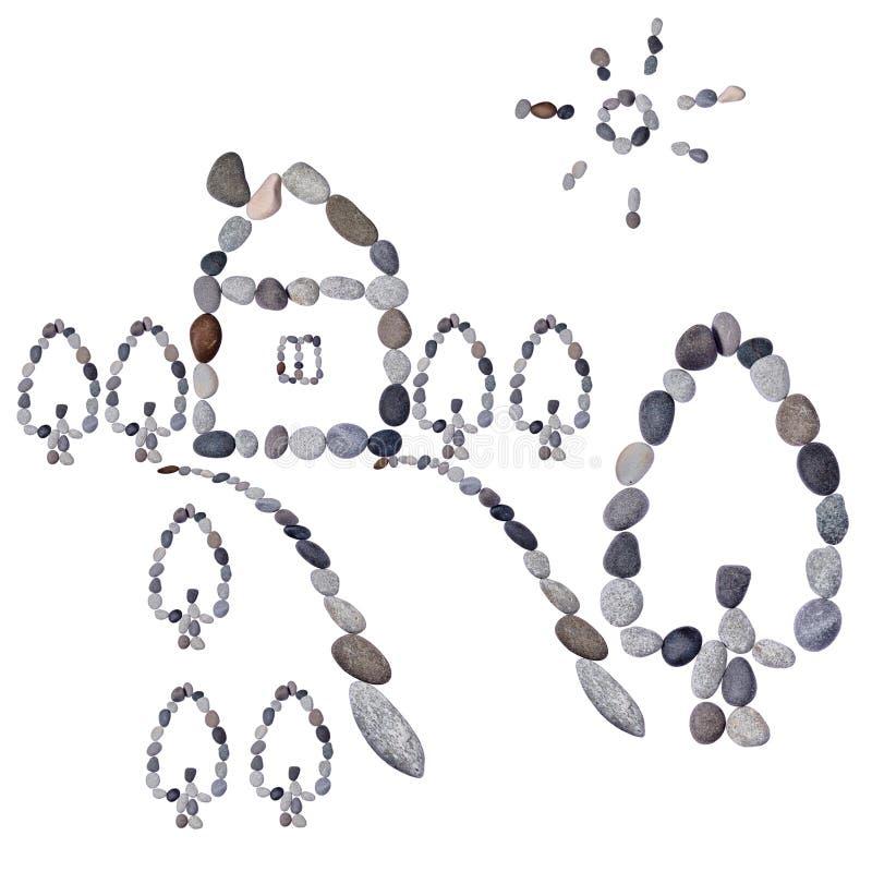 Kindtekening van de stenen royalty-vrije stock afbeelding