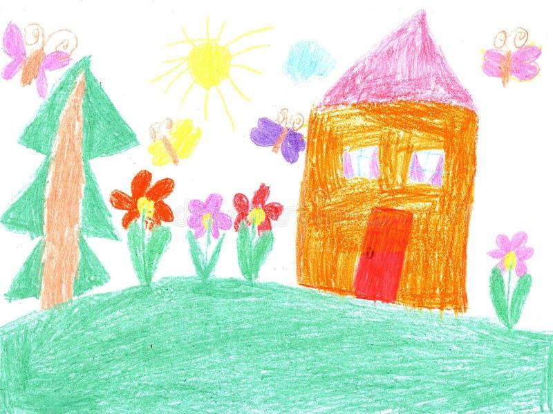 Kindtekening van een huis stock illustratie