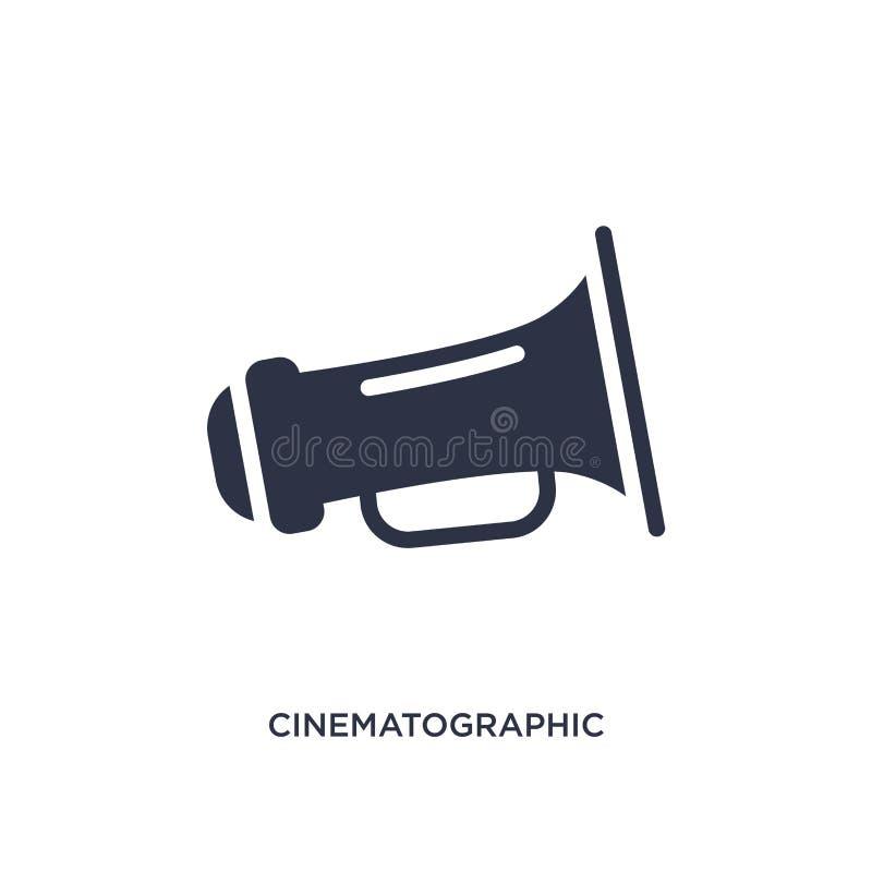 kinematograficzna spiker ikona na białym tle Prosta element ilustracja od Kinowego pojęcia royalty ilustracja