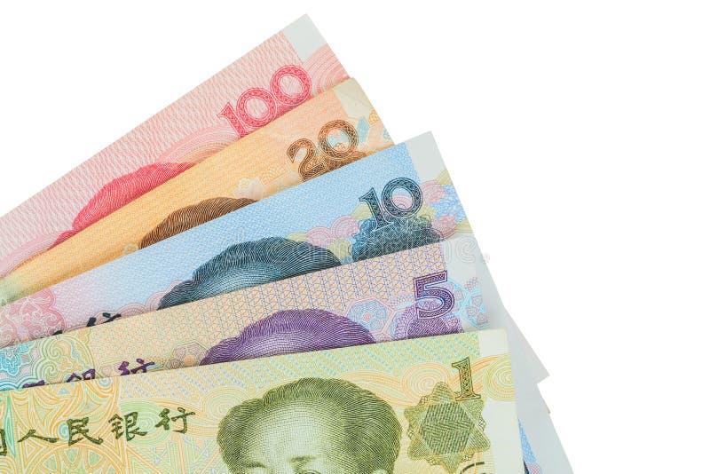 Kines- eller Yuan sedelpengar från Kina valuta, slut upp arkivfoton