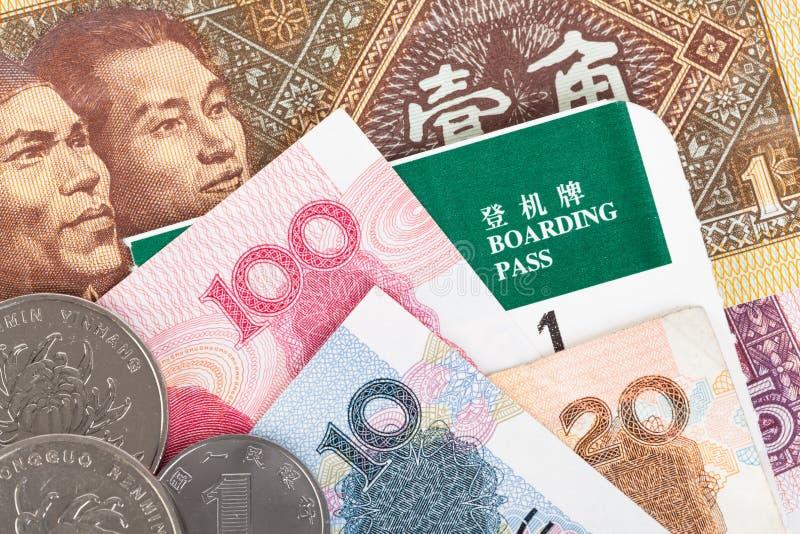 Kines- eller Yuan sedelpengar och mynt från Kina valuta, arkivbilder