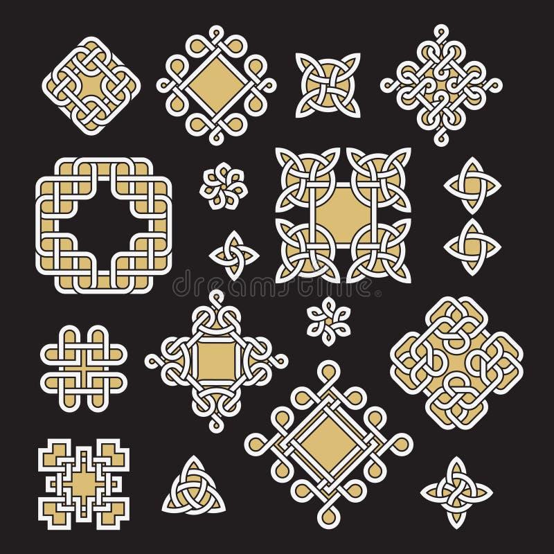 Kines och den celtic ändlösa fnuren och modellvektorn ställde in royaltyfri illustrationer