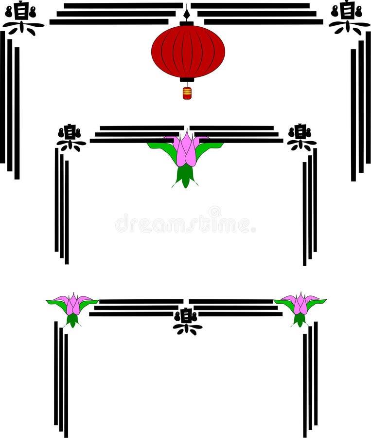kinesen inramniner lyktan royaltyfri illustrationer