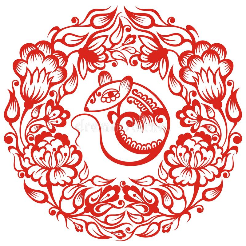 kinesen tjaller zodiac royaltyfri illustrationer