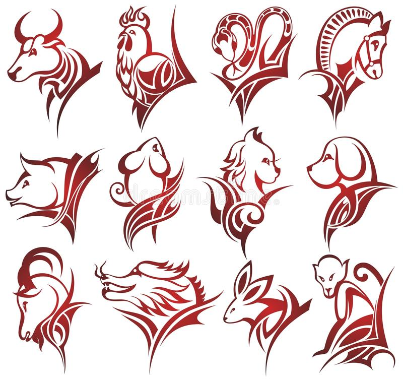 kinesen undertecknar zodiac vektor illustrationer