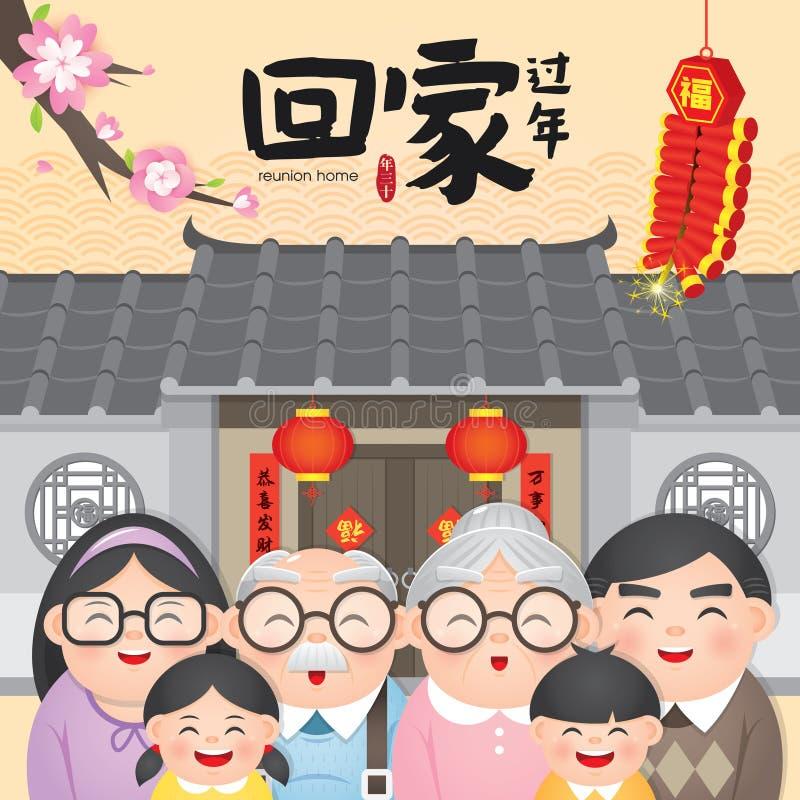 Kinesisk översättning för illustration för vektor för möte för retur för nytt år hem-: Återgångt hem- möte för kinesiskt nytt år royaltyfri illustrationer